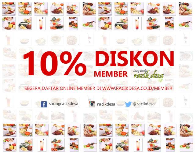 diskon member 10% Racik Desa